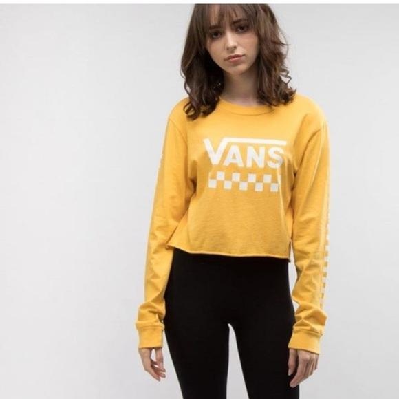 Vans Tops - Vans yellow long sleeve cropped top
